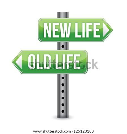 New or old life sign illustration design over white - stock photo