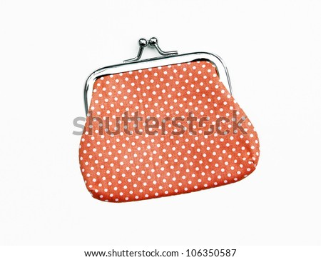 New Orange Knit Change Coin Purse with clasp and polka dots pattern isolated on white background - stock photo