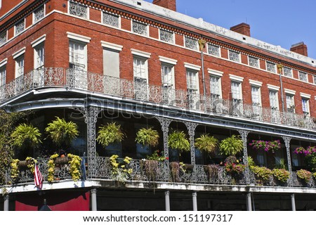 New Orleans - A New Orleans Balcony in the French Quarter - stock photo