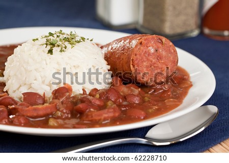 New Orleans cajun style red beans and rice with sausage - stock photo