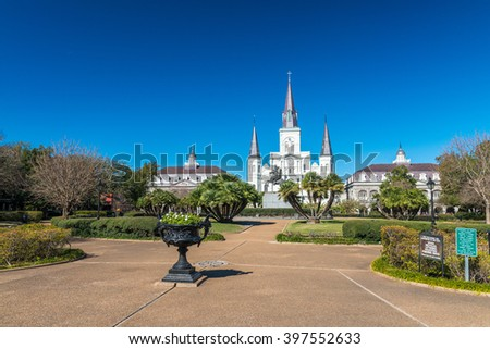 NEW ORLEANS - FEBRUARY 9, 2016: Jackson Square on a sunny day. New Orleans attracts 10 million tourists every year. - stock photo