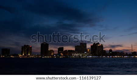 New Orleans, LA city skyline at sunset - stock photo