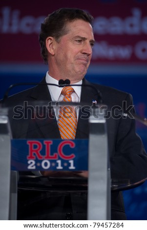 NEW ORLEANS, LA - JUNE 17: Senator Jim DeMint of South Carolina addresses the Republican Leadership Conference on June 17, 2011 at the Hilton Riverside New Orleans in New Orleans, LA. - stock photo