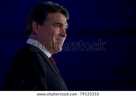NEW ORLEANS, LA - JUNE 18: Texas Governor Rick Perry addresses the Republican Leadership Conference on June 18, 2011 at the Hilton Riverside New Orleans in New Orleans, LA. - stock photo