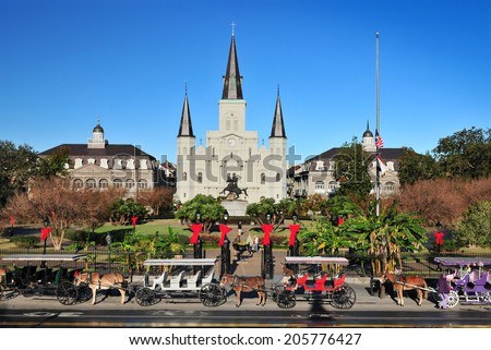 NEW ORLEANS, LOUISIANA, USA - DEC. 2012: The Saint Louis Cathedral-Basilica of Saint Louis, King of France in Jackson Square at French Quarter, New Orleans, Louisiana USA. - stock photo