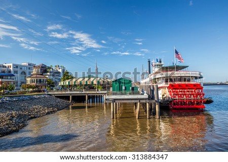 New Orleans paddle steamer in Mississippi river in New Orleans,  Louisiana - stock photo