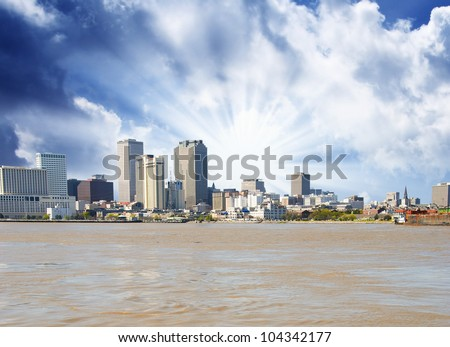 New Orleans Skyline from Mississippi, U.S.A. - stock photo