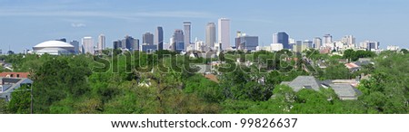 New Orleans skyline view from uptown - stock photo