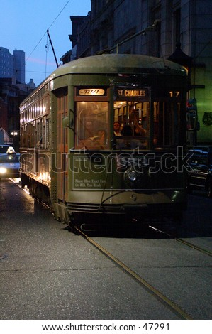 New Orleans Street car at night. St. Charles Ave - stock photo