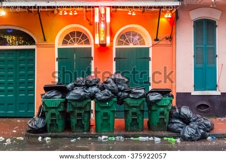 New Orleans, United States: October 4, 2015. Cleaning up garbage on Bourbon Street the morning after an evening of festivities - stock photo