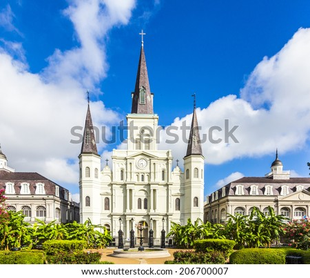NEW ORLEANS, USA - JULY 17, 2013: Beautiful Saint Louis Cathedral in the French Quarter in New Orleans, USA. Tourism provides a large source of revenue after the 2005 devastation of Hurricane Katrina. - stock photo