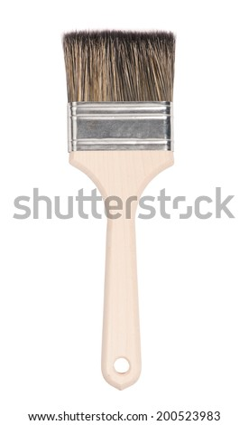 New paint brush isolated on white background - stock photo