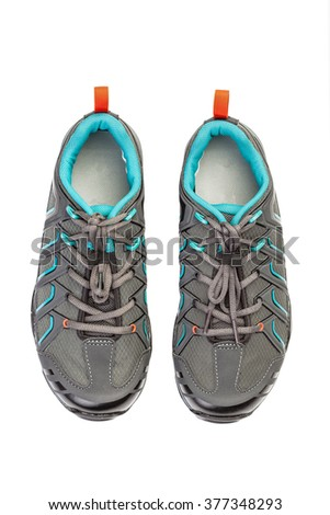 New pair of sport shoe for mountain cycling , isolated on white background.  - stock photo
