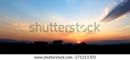 New panorama sky sunset sky with cloud silhouette landscape nature background - stock photo