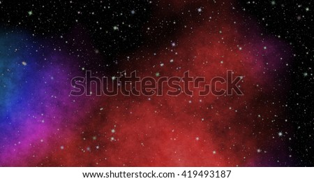 New panoramic looking into deep space. Dark night sky full of stars. The nebula in outer space  - stock photo