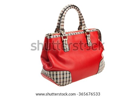 New patterned red womens bag isolated on white background. - stock photo