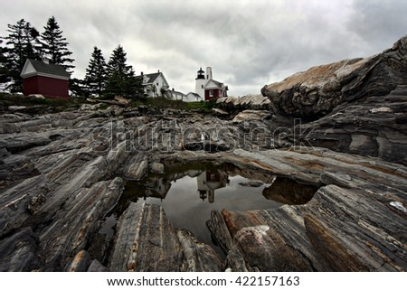 New Pemaquid Lighthouse Reflection - stock photo