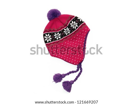 New Pink / Purple Knit Wool Hat with Pom Pom isolated on white background - stock photo