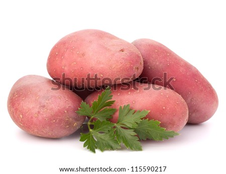 New potato tuber heap and parsley leaves isolated on white background cutout - stock photo