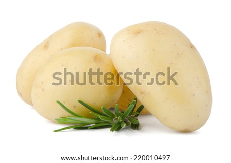 New potatoes and green herbs isolated on white background close up. - stock photo