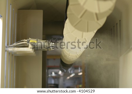 New powder coating line of metal industry. - stock photo