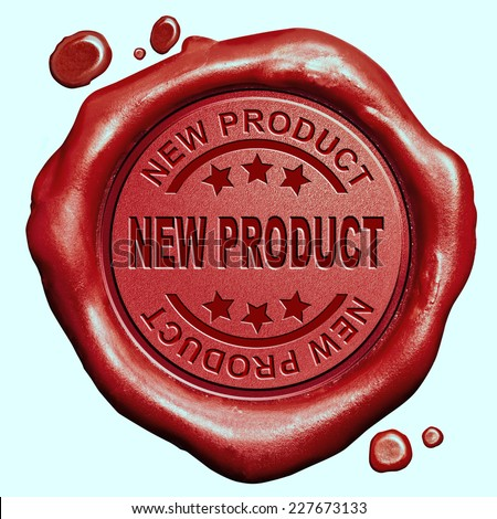 new product launch latest release promotion red wax seal stamp button - stock photo