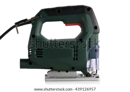 new professional jig saw on a white background - stock photo