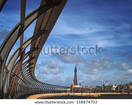 New promenade  with railings at Blackpool - stock photo