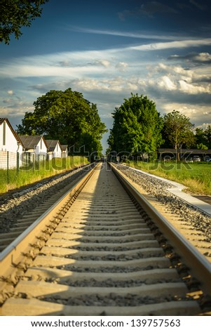 New railway tracks on the outskirts of Graz, Austria. - stock photo