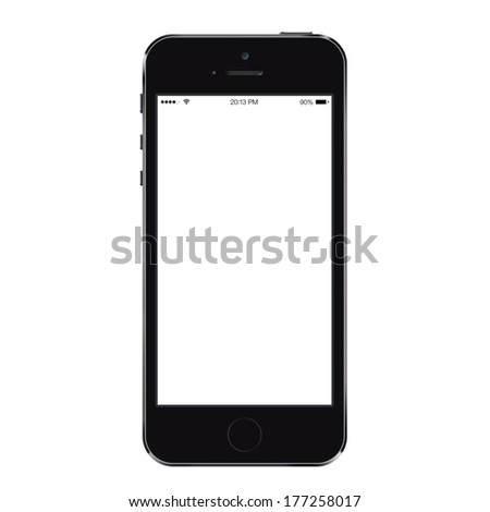 New realistic mobile phone smartphone iphon style mockup with blank screen isolated on white background - stock photo