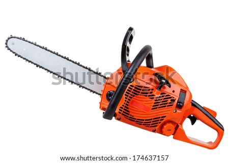 New red chainsaw isolated on white background with clipping paths - stock photo