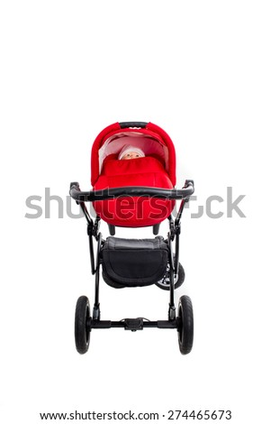 New red modern pram with doll. Front view. Isolated on a white background. - stock photo