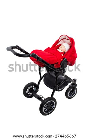 New red modern pram with doll. Side view. Isolated on a white background. - stock photo