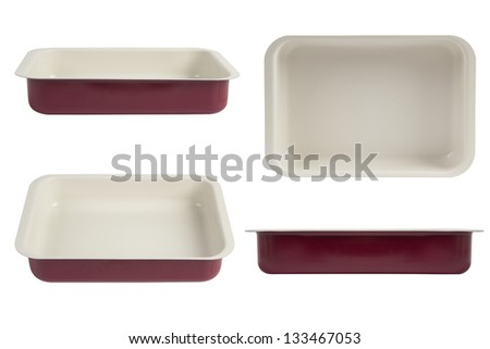 New red nonstick coating roasting pan isolated on white, oven tray - stock photo