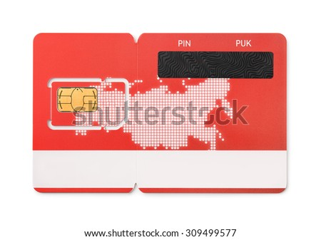 New red SIM card isolated on white - stock photo