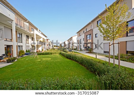 New residential buildings with outdoor facilities - stock photo
