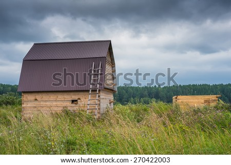 New residential construction home framing against  - stock photo