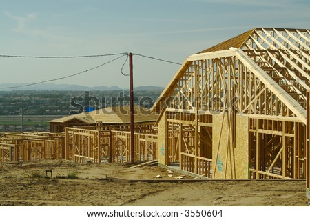 New residential construction site. - stock photo