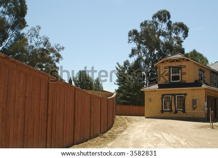 New residential neighborhood under construction. - stock photo