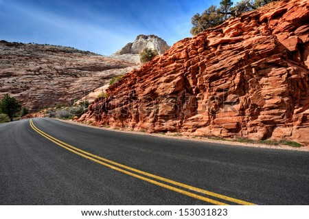 new road in beautiful landscape - stock photo