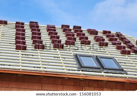 New roof construction of house - stock photo