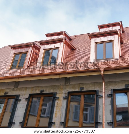 New roof with dormer windows of copper - stock photo