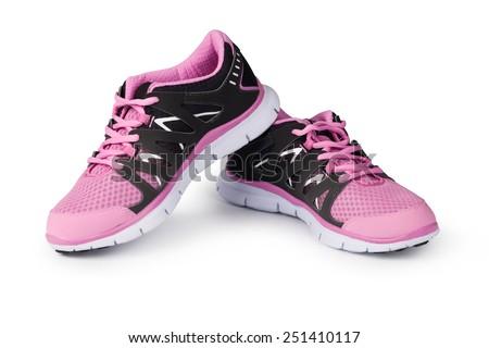 New running shoe isolated on white background - stock photo