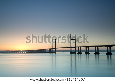 New Severn Bridge at sunrise - stock photo