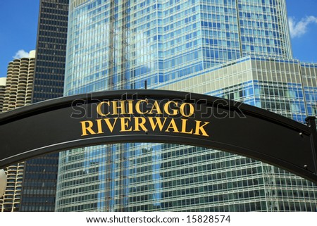 New Sign in Chicago:  Chicago Riverwalk - stock photo