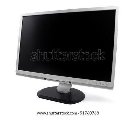 New silver computer monitor isolated on white background with clipping path. - stock photo
