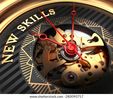 New Skills on Black-Golden Watch Face with Watch Mechanism. Full Frame Closeup. - stock photo