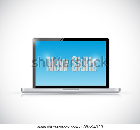 new skills sign on a computer illustration design over a white background - stock photo