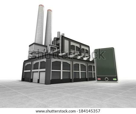 new smart phone as industrial factory production concept illustration - stock photo
