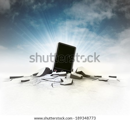 new smart phone stuck into ground with flare and sky illustration - stock photo